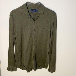 Polo Ralph Lauren Knit dress shirt Cotton Dark Green Men's Sz L Soft Long Sleeve